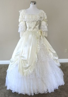 Ivory Satin Lace Theater Gown Civil War Costume Renaissance Dress Satin Dres