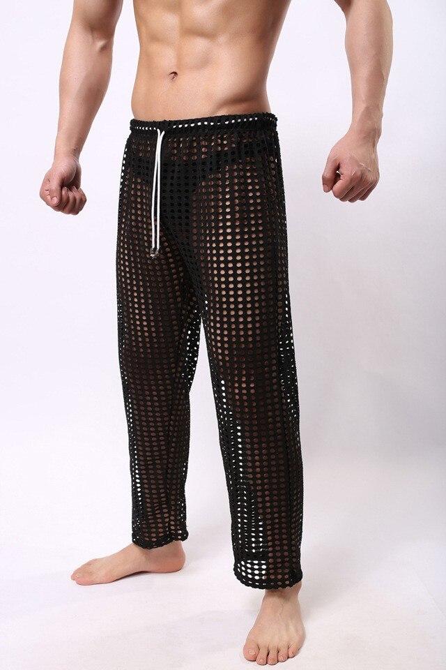 Hellomiko Pantalones Transparentes Para Hombres Servicio De Casa Casual De Malla Suave Y Comodo Hombre Ropa De Dormir