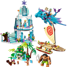 Friends Girl Pricess Vaiana Moanas Elsa's Sparkling Ice Castle Anna Elsa Queen Kristoff Olaf Emma Building Blocks Sets Kids Toys