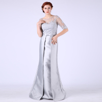 Appliques Real Picture Mother Of The Bride Dresses Three Quarter Sexy Back Long Prom Dresses Vestido