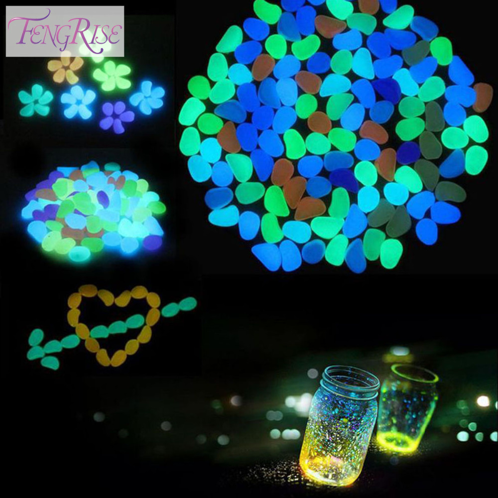 FENGRISE Garden Decorations Crafts 10pcs Glow In The Dark Luminous Pebbles Stones Acrylic For Wedding Romantic Festive Supplies