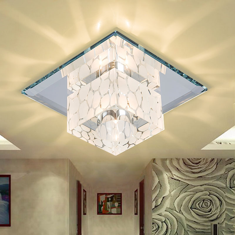 Square Crystal Light Hallway Foyer LED Crystal Ceiling Lamp 5W Corridor Aisle Lamparas de techo Lustre Lights Home Decor декор impronta ceramiche square wall blu formelle glitter 12 25x25