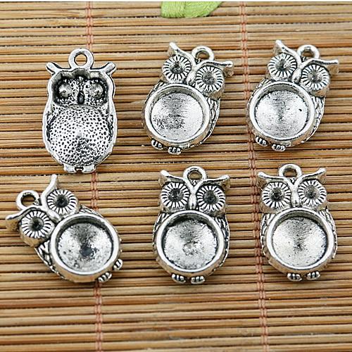 16 шт тибетские Серебристые бусины в виде совы Настройки камеи кабошона EF1553