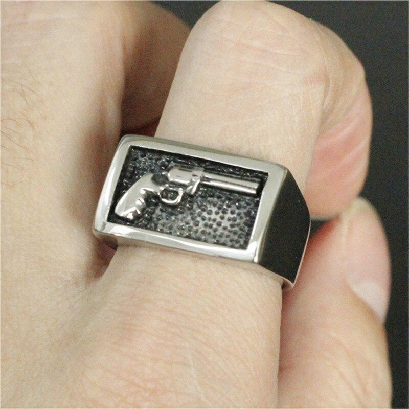 1 stück Unterstützung Drop Ship Cool Man Hand Gun Nummer 7 Ring 100% 316L Edelstahl Schmuck Hand Gun Ring