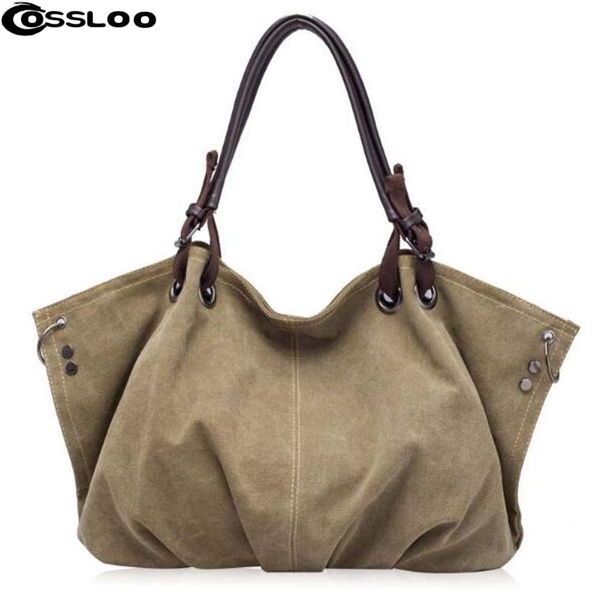 66ad779fa1 COSSLOO bolsa mulheres grande engrossar lona ocasional nylon tote messenger  bags hobo bolsas femininas grandes bolsas bolsa de ombro