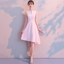 Simply Chic Pink Women Dress Satin Midi Party Dresses Prom Graduation Bridesmaid Wedding Cocktail Birthday Occasion Dresses Robe(China)