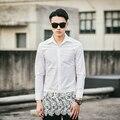 Rendas costura camisa ocasional dos homens punk moda sexy camisas de vestido chemise homme masculino slim fit camisa de manga longa preto branco C650