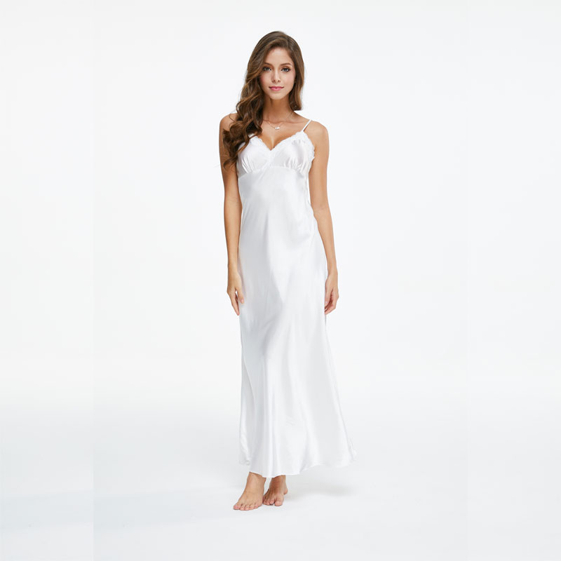 Lace Nightgowns Spaghetti-Strap Long-Sleepwears Female White V-Neck for SLA501W Ankle-High