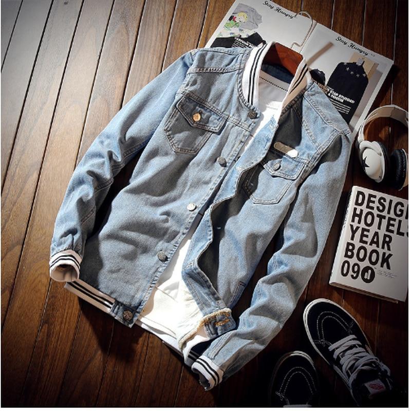 2019 Premium Brand Men Fashion Slim Fit Casual Cotton Denim Jacket/Men Stand Collar Hip Hop Streetwear Jean Coats