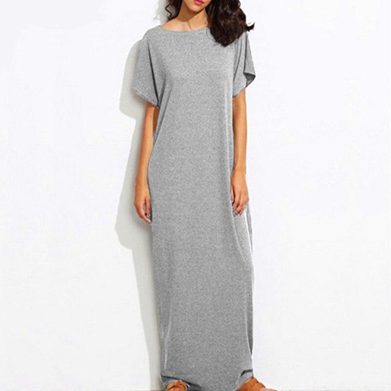 2019 Vintage Maxi Long Maxi Dress Casual Short Sleeve O Neck Fashion Solid Loose Dress Vestidos summer clothes for women