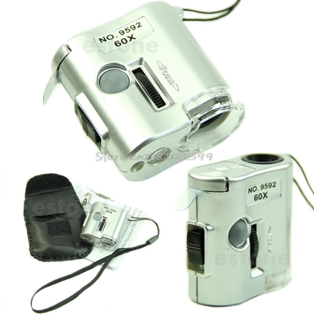 60 X Microscope Jeweler Loupe Lens Illuminated Magnifier Glass With LED UV Light M10 dropship