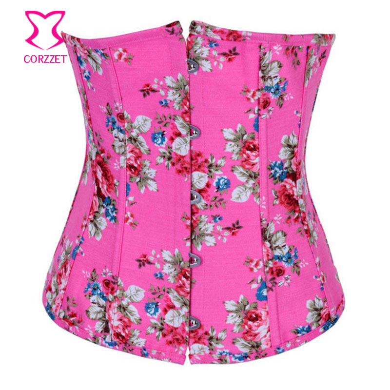 Pink Denim/Jean Flower Pattern Korsett For Women Waist Trainer Corset Corselet Underbust Bustiers Corsets Sexy Gothic Clothing