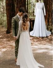 2019 Country Lace Wedding Dresses Long Sleeve Bateau Backless Illusion Bodice Chiffon Boho Garden Beach Bridal Gowns