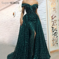 SuperKimJo Detachable Train Evening Dresses 2019 Off the Shoulder Hunter Green Evening Gowns Two Piece Prom Dress
