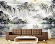 цена на Beibehang Custom Photo wallpaper Nature Landscape waterfall sailboat Painting Living Room Bedroom Background 3d wallpaper