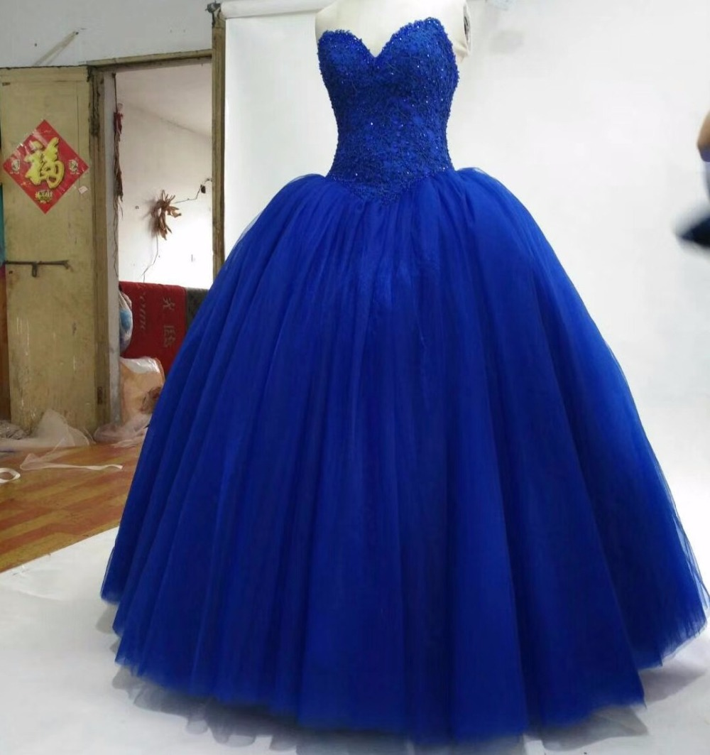 CloverBridal Sweetheart Puffy Royal Blue Tulle skirt Ball Gown Sweet ...