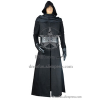 Star Wars The Force Awakens Cosplay Kylo Ren Costume Uniform Black Suit Outfits Robe Top Halloween Party Movie TV Vest Pants