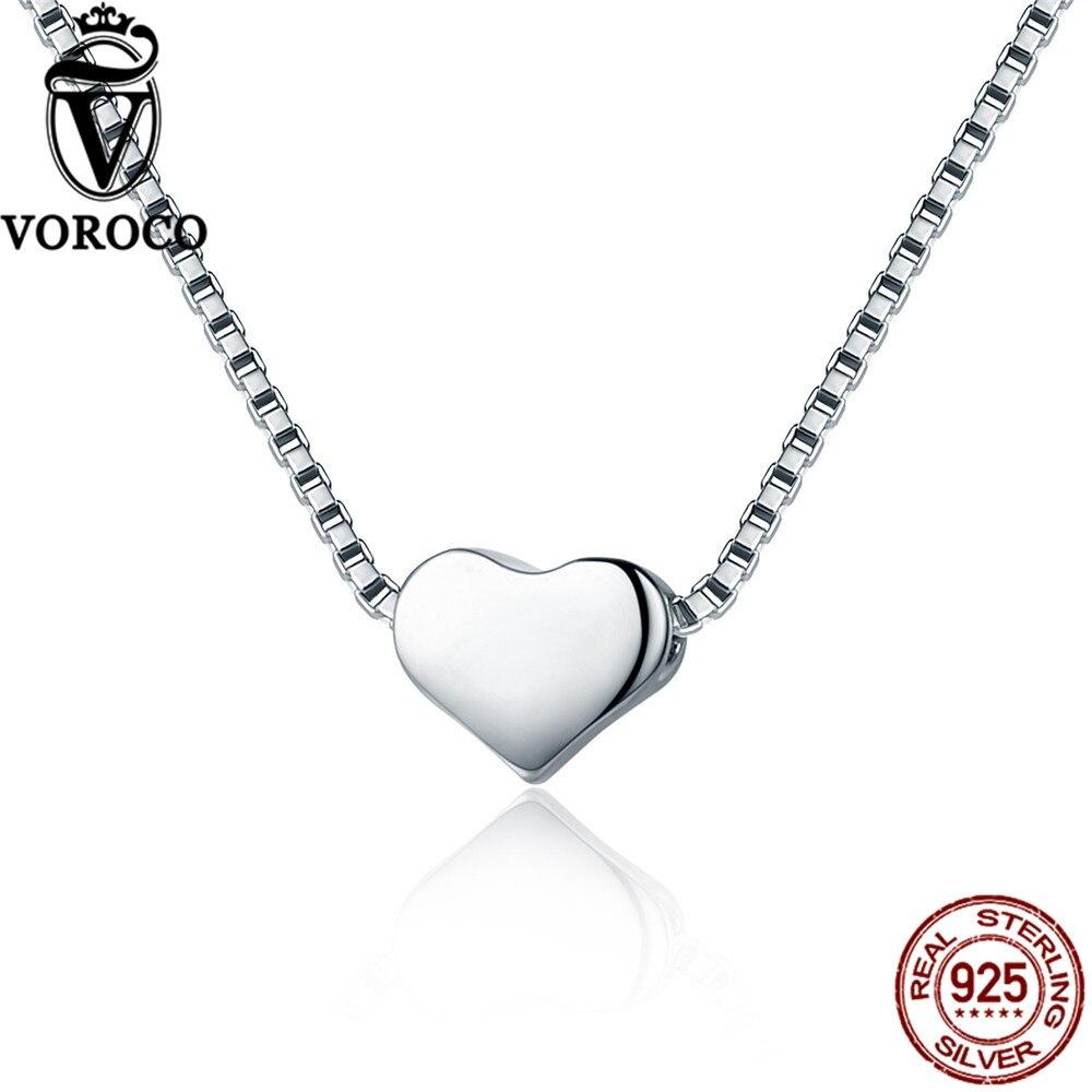 Heart Pendant 925 Sterling Silver Minimalist Simple Slide Pendants Necklace For Women Wedding Fine Jewelry