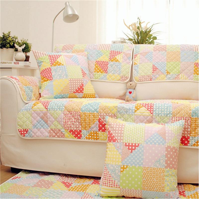 Korean style corner sofa cover cotton linen blending slip for Slip sofa covers home style