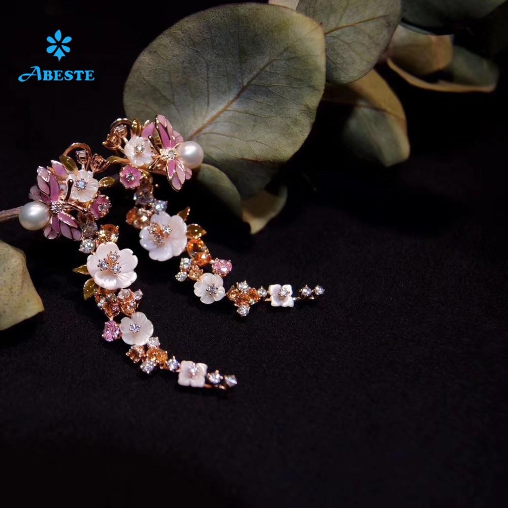 ANI 925 en argent Sterling fait à la main femmes goutte boucle d'oreille coquille naturelle fleur boucles d'oreilles blanc perle balancent brincos para as mulheres