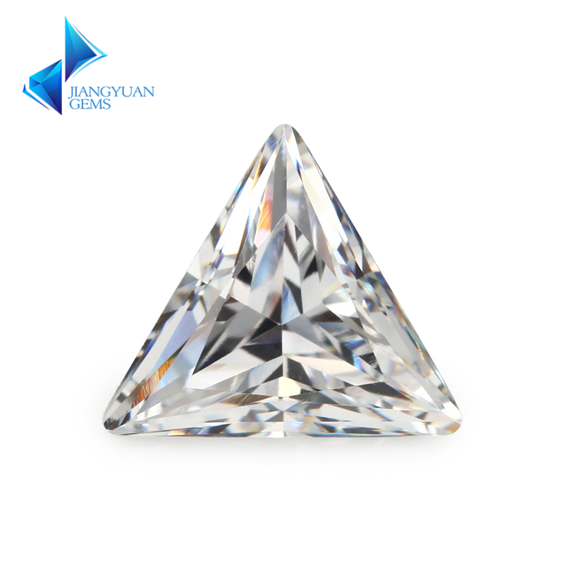 3x3~10x10mm Triangle Shape 5A White CZ Stone Synthetic Gems Cubic Zirconia For Jewelry