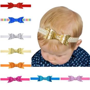 40pcs/lot Baby Girl Gold Glitter  Bow Headband Dovetail Bow Headband