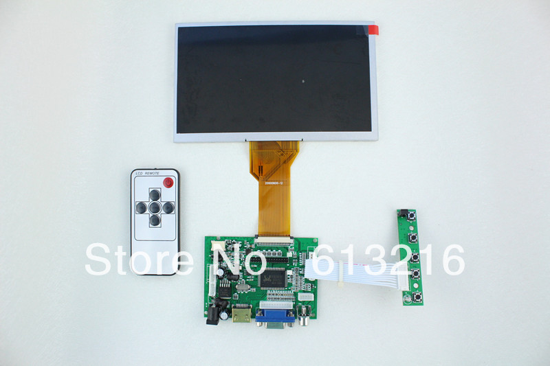 HDMI+2AV +VGA of LCD driver board +AT080TN64 with 800*480+Remote control with receiver +OSD keypad with cable hdmi vga 2av lcd driver board vs ty2662 v1 71280 800 n070icg ld1 ld4 touch panel