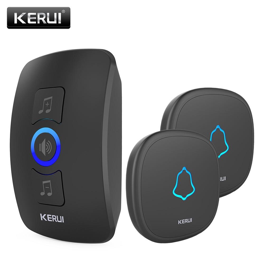 KERUI Wireless Doorbell Waterproof Touch Button LED Light Cordless Smart Home Door Bell Chime Kit With 32 Chimes Door Bell Alarm