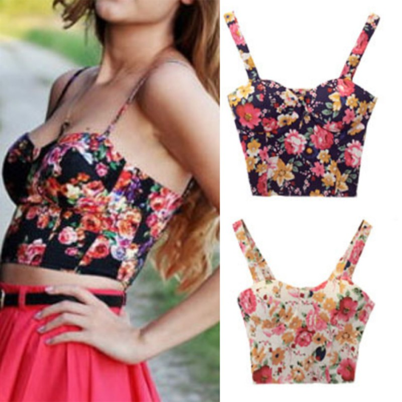 Sexy Women Floral Padded Bra Bustier Top Ass Blouse Hot Corset Party with Wire Free and  Non-Convertible Straps Top