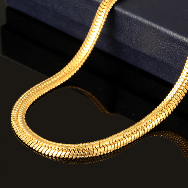 New Hot Hip Hop Jewelry Snake Chain Necklace Wholesale 2017  Trendy Stainless Steel Gold Color Men Gift Chain Necklace 2