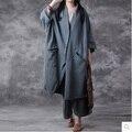 Выпуск продукта в весной 2017 года, оригинальный дизайн свободно большие ярдов хлопка белье женщин пальто