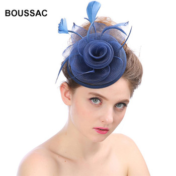 Women Chic Sinamay Fascinator Hat Cocktail Wedding Party Church race Headpiece Vintage Headdress Formal Feather Hair Accessories headpiece