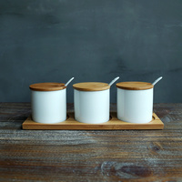 Japan Style zakka ceramic storage bottles jars for spice sugar salt storage box with spoon bamboo lid tray sets creative jars