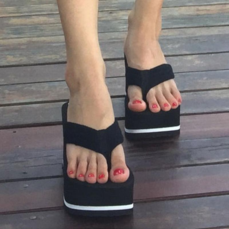Hot 2018 High Heels Women Flip Flops Summer Sandals Platform Wedges Slippers Girl's Fashion Beach Shoes Woman plus size 34 45 new 2018 high heels women flip flops summer sandals platform wedges slippers girl s fashion beach shoes