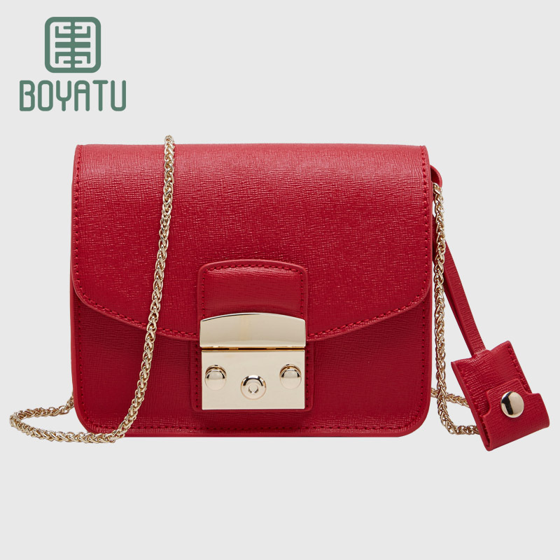 BOYATU Genuine Leather Messenger Bags Brand Sac A Main Chain Solid Shoulder Bags for Women 2018 Designer Small Crossbody Bag