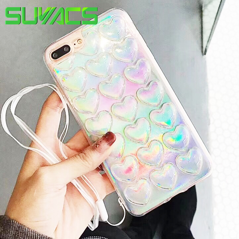 SUYACS Glossy 3D Hearts & Rainbow Holographic Laser Phone Case For iPhone 5S 6 6S 7 8 Plus X Soft TPU Back Cover Cases with Rope