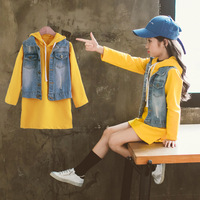 Girl Outfits Spring Autumn New Long Sleeve Hoodies Children Sweater Mini Dress Denim Vest Coat 2pcs Clothes Sets Outwear Jackets