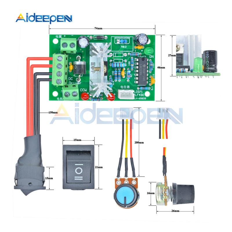 L0371 6-30V 80W 10A Reversible DC Motor Speed Controller Adjustable PWM Speed Regulator With Control Switch Potentiometer