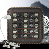 EU/US Plug Electric Heating Pad Germanium Stone Sofa Cushion Jade Stone Massage Mat Heating Far Infrared Health Cushion 45*45CM