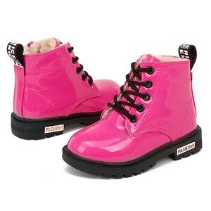 Image 3 - Stivali Martin per bambini stivali da moto impermeabili in pelle PU stivali da neve per bambini invernali scarpe da principessa per ragazze di marca stivali di gomma