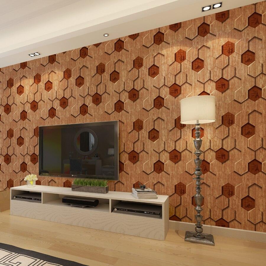 US $37.9  Moderne 3d Holz Muster Tapete Fliesen Form 6 sided Holz Tapete  Wohnzimmer Hintergrund Englisch Buchstaben Tapete Rolle-in Tapeten aus ...