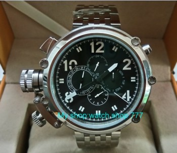 PARNIS 50 mm big black dial watch  movement automatic multi-function Mens watches 316 l stainless steel strap sdgd042A