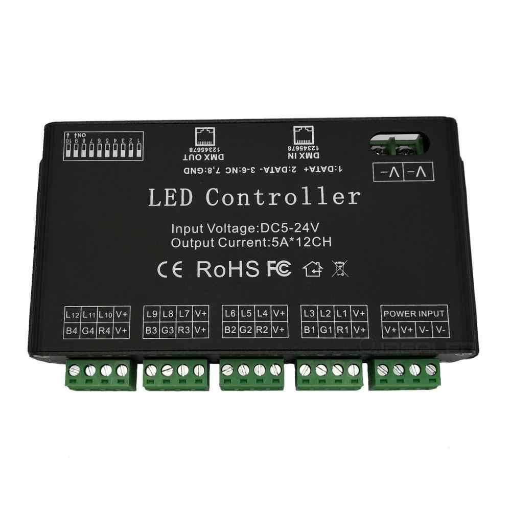 12 канала DMX декодер DC5V-24V светодиодный контроллер полосы пропускания RGB 12CH DMX512 декодер высокой мощности 60A DMX диммер драйвер