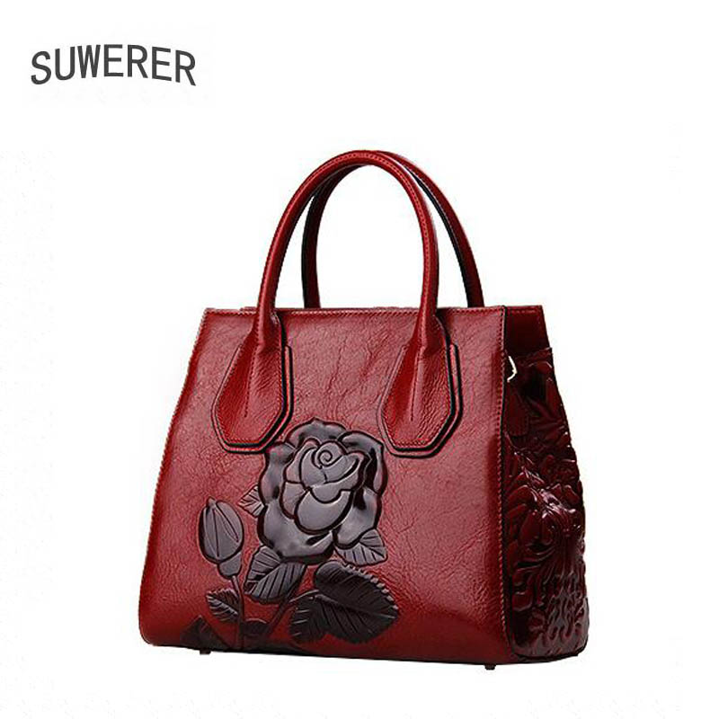 2017 Sale Polyester Zipper Flowers Suwerer New Genuine Leather Women Handbags Rose Luxury Bags Designer Bag Fashion Floral suwerer new genuine leather women bags special craftsmanship fashion luxury handbags women bags designer women leather handbags