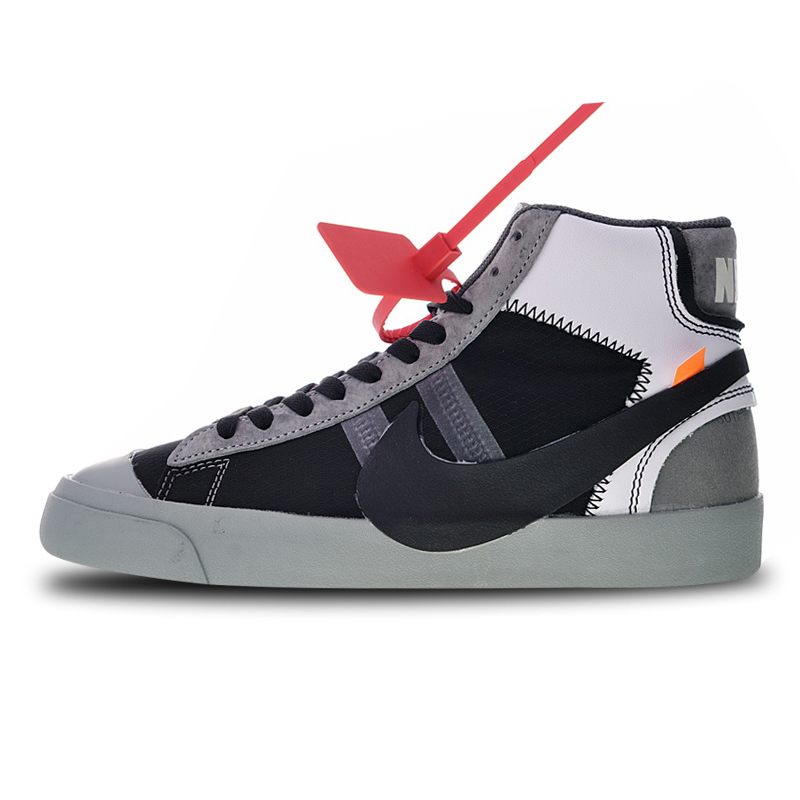new product 1dd73 98aa5 OFF-White X Nike OW Blazer Studio Mid Wolf Grey Skateboarding Shoes Sneakers  Sports for Women AA3832-001 36-39