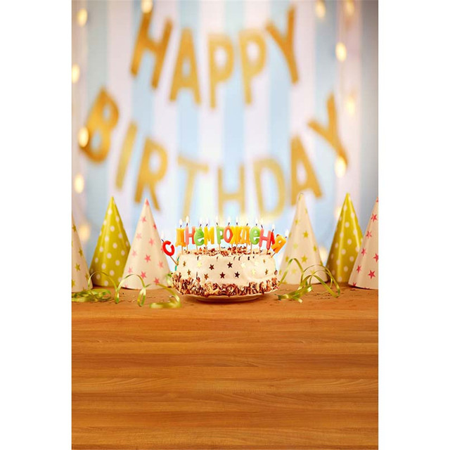 Bokeh Happy Birthday Backdrop Photography Printed Cake Candles Caps