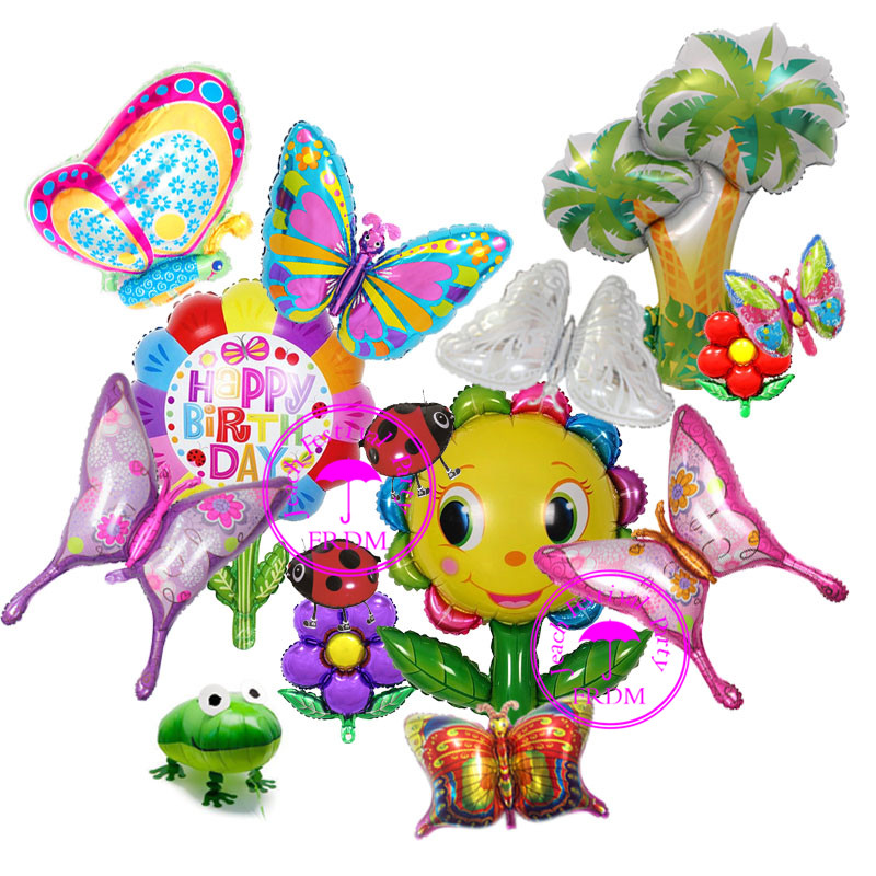 inflatable foil party balloons for birthday decoration supplies helium ballon colorful cartoon character butterfly balloons in Ballons Accessories from Home Garden