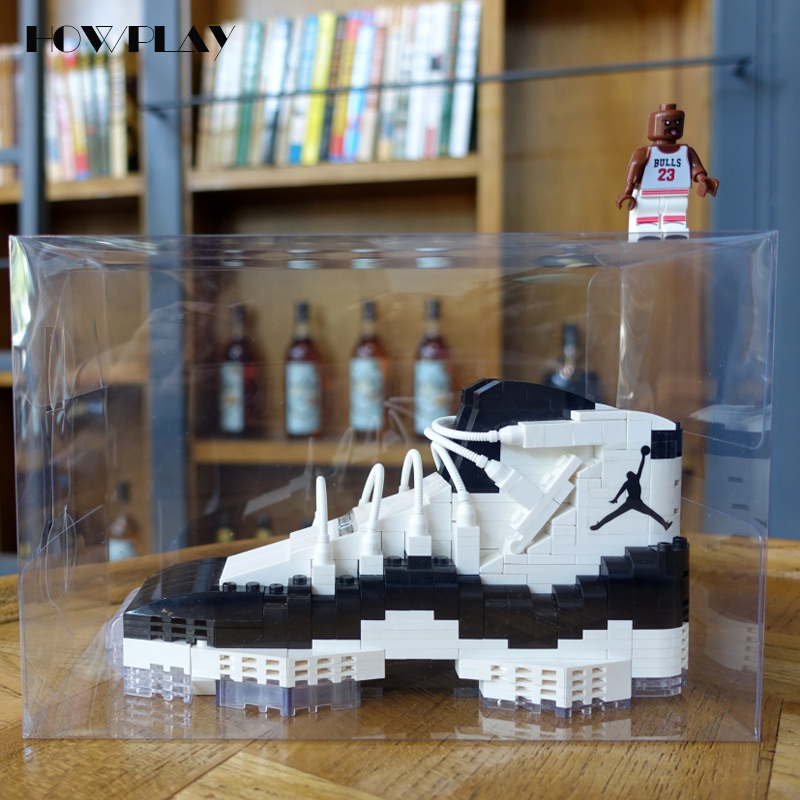 HowPlay new AJ11 sneakers model building blocks collections single Black and white basketball shoe blocks toys for children gift basketball ru bun lock children puzzle toy building blocks