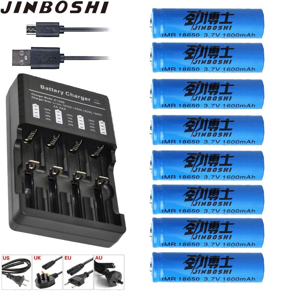 8 pièces 18650 3.7 V 1600 mAh Li-ion batterie rechargeable 18650 Batterie + 1 pièces 18650 16340 AAA 14500 Chargeur de batterie