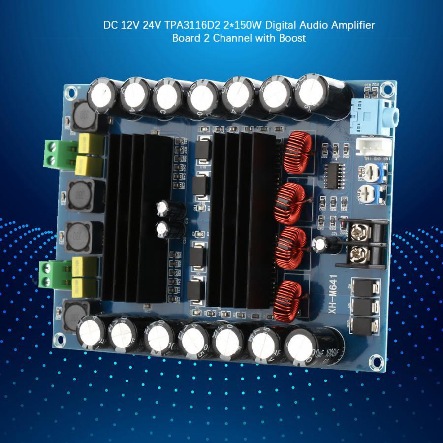 Power Amplifier Board  DC 12V 24V TPA3116D2 2*150W Digital Audio Amplifier Board 2 Channel with Boost Switch Cap Amplifier BoardPower Amplifier Board  DC 12V 24V TPA3116D2 2*150W Digital Audio Amplifier Board 2 Channel with Boost Switch Cap Amplifier Board